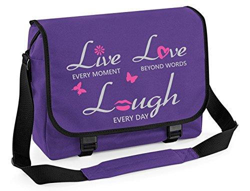 Mein Zwergenland Messenger Bag Live Lough Love, 14 L, Black Purple