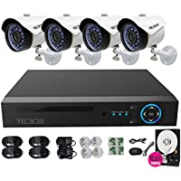 TECBOX 4 Channel 720P AHD Home Security Camera System DVR Recorder With 4 HD 1.3MP Waterproof Night Vision Indoor Outdoor CCTV Surveillance Camera 500GB Hard Drive Preinstalled