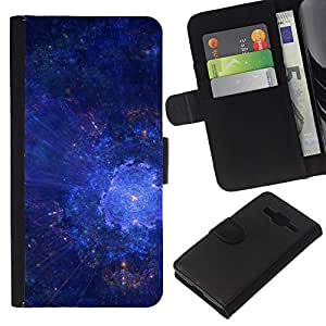 KLONGSHOP // Tirón de la caja Cartera de cuero con ranuras para tarjetas - Universo de la galaxia Estrellas Art Blue Cosmos Explosión - Samsung Galaxy Core Prime //