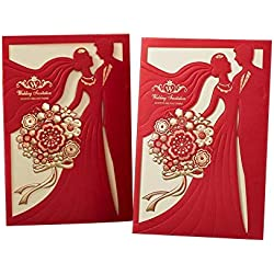 PONATIA 25 PCS MR & MRS Laser Cut Square Wedding Party Invitations Cards Set with Lace Flowers for Engagement Wedding Party (Red Color)