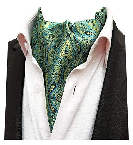 MENDENG Men Green Gold Paisley Woven Silk Cravat Necktie Scarf Formal Ascot -
