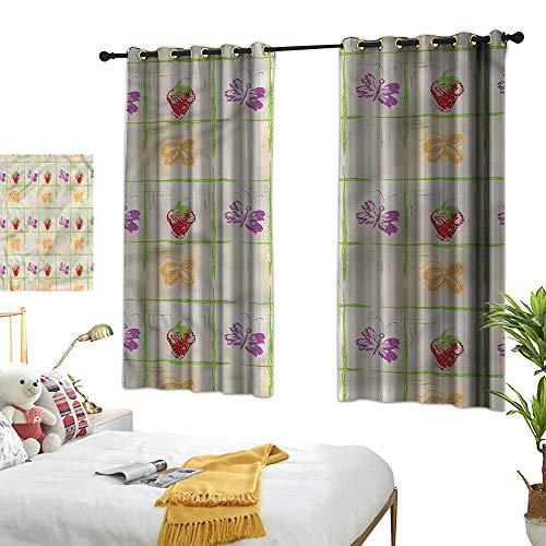 (Warm Family Grunge Simple Curtain Strawberry Leaf Butterfly for Living, Dining, Bedroom (Pair) 55