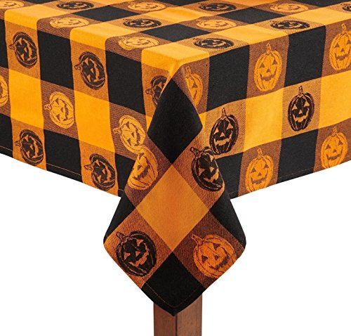 "Nantucket Home Checkered Pumpkin Cotton Jacquard Tablecloth (52"" x 52"