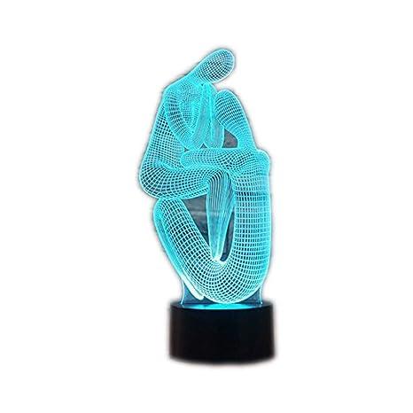 Lámpara 3D Lámpara de noche LED Mesa táctil Lámpara de Meditación Doble Yoga 7 Colores 3D Lámpara de ilusión óptica Luces de San Valentín