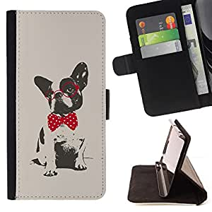 For Samsung Galaxy Note 3 III Boston Terrier Pug Polka Dot Red Grey Beautiful Print Wallet Leather Case Cover With Credit Card Slots And Stand Function