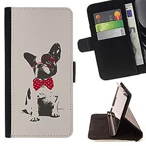 BullDog Case - FOR/Samsung Galaxy S4 IV I9500 / - / Boston terrier pug polka dot red grey /- Monedero de cuero de la PU Llevar cubierta de la caja con el ID Credit Card Slots Flip funda de cuer