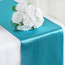 "DALAMODA 5 Pcs(12""x108"") Satin Table Top,Teal Table Runner, For Wedding Banquet Decorations, Bridal Shower, Christmas, Birthday, Graduation, Prom, Party Table Decor(5# Turquoise)"