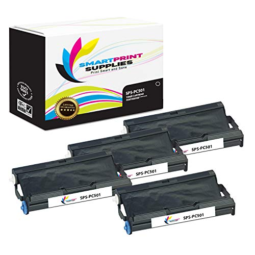 (Smart Print Supplies Compatible Brother PC501 Black Ribbon Cartridge for Fax 575 Printer 5M Characters (4 Pack))