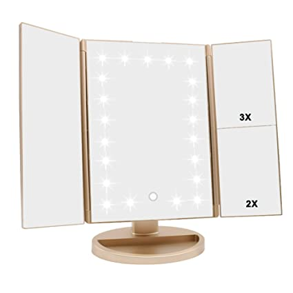 Tri Fold Vanity Mirror With Lights Unique Amazon WEILY Trifold Vanity Mirror 60 LED Lighted Makeup