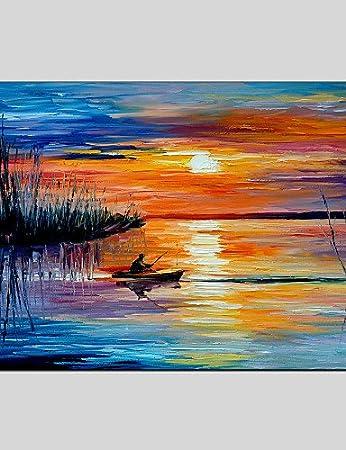 Amazon.de: Seascape Leinwand Material Öl Gemälde mit gedehnt Rahmen ...