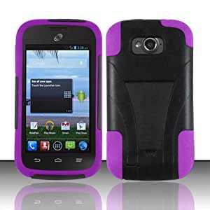 3-in-1 Bundle - Case, Screen Protector and Stylus Pen for Premium Silicone + Plastic Hybrid Kick Stand Cover Case - Purple - ZTE Savvy Z750c / ZTE Reef N810 (StraightTalk)