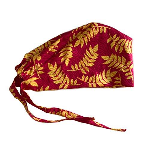 Women's Zebra Fern Magenta Yellow Front Fold Tie Back Scrub Cap Surgical Cap