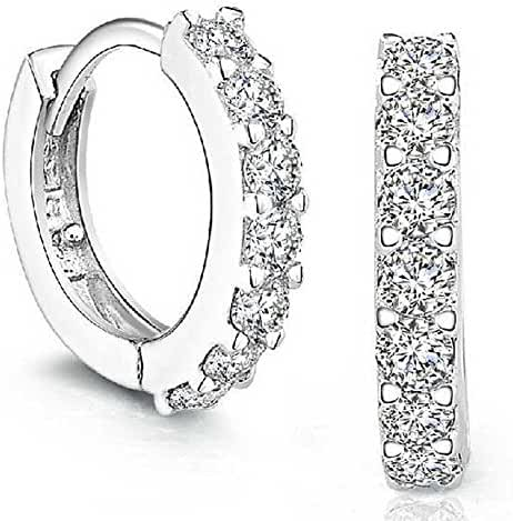 Sannysis 1Pair Beautiful Silvering Rhinestones Hoop Stud Earrings For Women-About Half an Inch