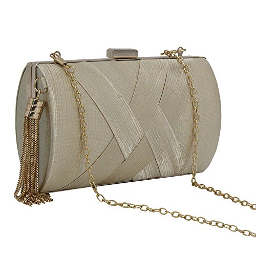 Wedding Metal Party Vintage Cckuu Satin Women's Handbag Pleated Gold Frame Apricot Evening Clutch wA6wUq
