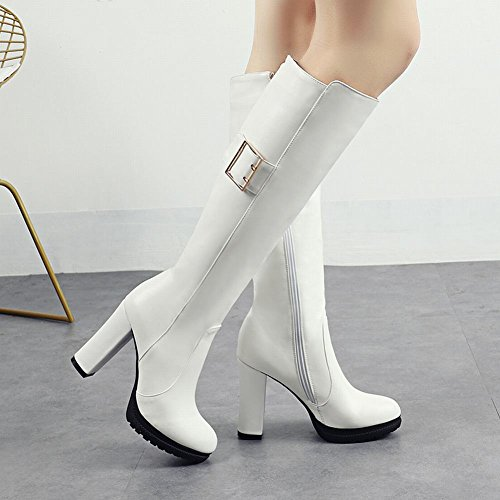 Chic White Zip Heel Knee Women's Mee Boots High Shoes Block High qTxPE