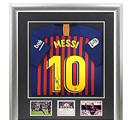 94bcce7102e Signed Lionel Messi Barcelona 2017-18 Shirt - Deluxe Framed Display -  Autographed Soccer Jerseys at Amazon s Sports Collectibles Store
