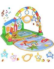 WANJING Lekmatta för baby, musikaktivitet, gym, spark och spela piano för nyfödda leksaker, med musik och ljus för pojkar och flickor, present till spädbarn och småbarn i åldrarna 1-36 månader