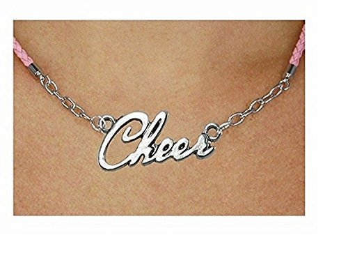 Polished Silver ''Cheer'' Pendant & Pink Braided Necklace by Lonestar Jewelry