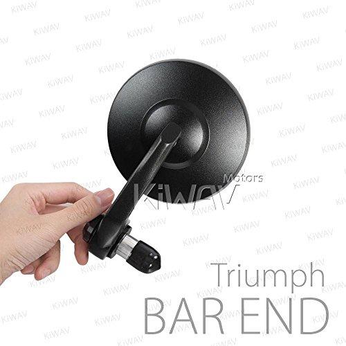 Motorcycle Bar End Mirrors Bob Black Sleeker Design Anti-Glare Shorter Stem 6mm or 5mm Bolt for Triumph ()