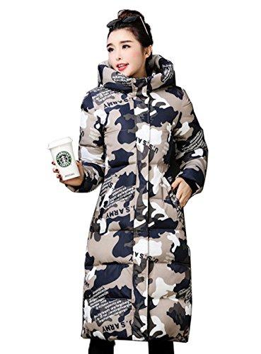 Jacket Down c Coat Long Women's Grey Simple Parka Hooded Camouflage Warm Bigood xn846Oq