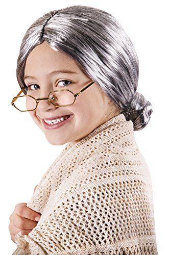 Kangaroo Old Lady Wig for Kids Gray -