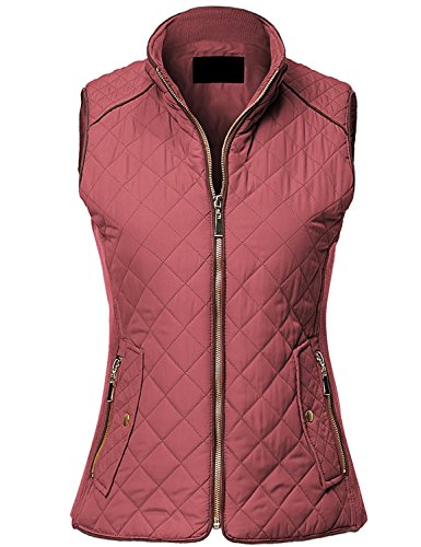 MAYSIX APPAREL Sleeveless Lightweight Zip Up Quilted Padding Vest Jacket for Women Dustypink S (Pink Camo Vest Women)