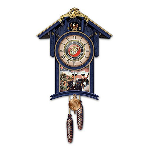 The Bradford Exchange Semper Fi for All Time Cuckoo Clock Marks The Hours with The Marines' Hymn