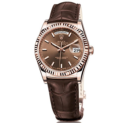 Rolex Day-Date President 36 Everose Gold Watch Brown Leather Strap 118135 ()