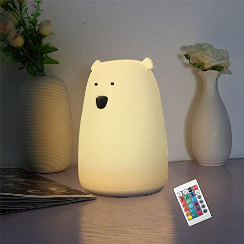 Children Night Light Nursery Lamp - SOLMORE Multicolor Soft Silicone LED Night Light,Cartoon Bear Night Lamp,Kids Bedside Lamp,USB Rechargeable with Remote for Baby Room Bedroom Birthday Gift