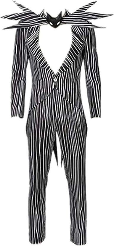 Jack Skellington Costume Cosplay The Nightmare Before Christmas Stripe Suit