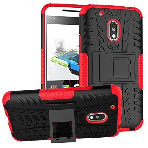 Moto G4 Play Case, Moto G Play Case, Moment Dextrad [Built-in Kickstand] [Non-slip Design] Dual Layer Hybrid Full-body Rugged [Shock Proof] Case Cover (Red)