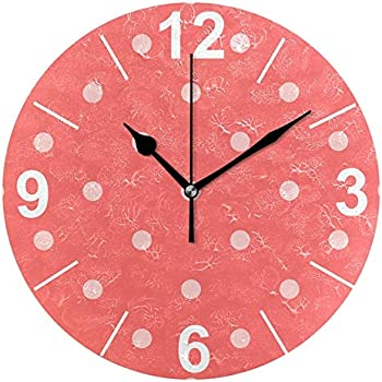 ALAZA Red Coral Polka Dots Round Acrylic Wall Clock, Silent Non Ticking Oil Painting Home Office School Decorative Clock Art