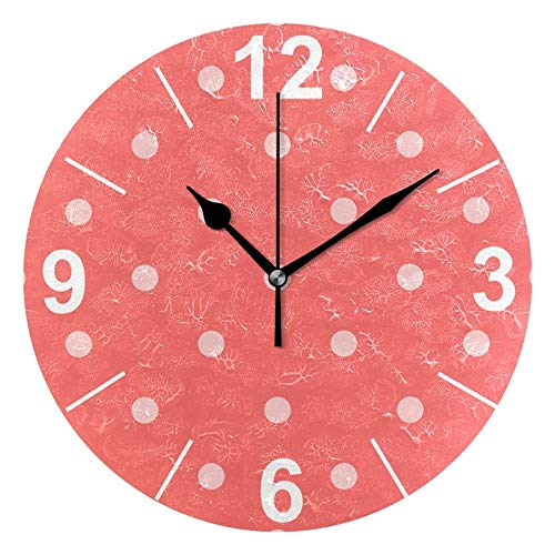 - ALAZA Red Coral Polka Dots Round Acrylic Wall Clock, Silent Non Ticking Oil Painting Home Office School Decorative Clock Art