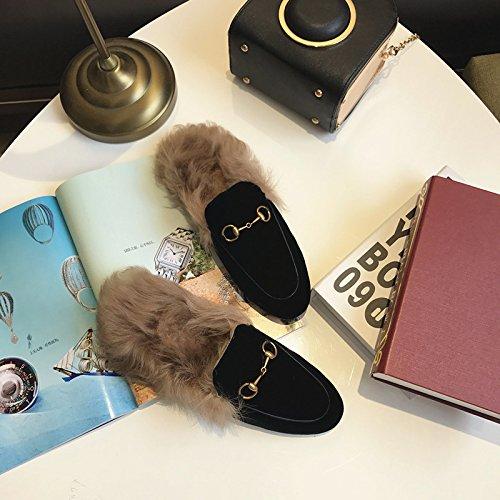 LaxBa Ladies Cashmere in maglia di cotone Casa antiscivolo pantofole nero37