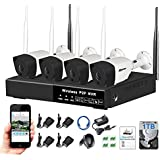 Wireless Security Camera System - 1080P HDMI NVR, 4 x 720P HD Indoor/Outdoor Wireless Cameras Night Vision Auto Pair - WiFi Easy APP Installation No Video Cables Needed, NVR Kits With 1TB HDD