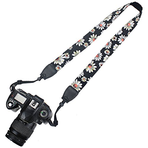 Elvam Camera Neck Shoulder Belt Strap Compatible w Nikon,Canon,Sony,Olympus,Kodak,Pentax ETC DSLR/SLR (Black Flower)