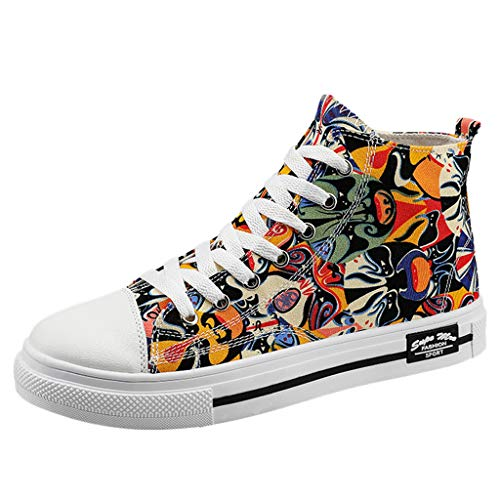 ❤Kauneus❤ New Men's Fashion Graffiti Hip Hop High Top Shoes Fancy Creative Versatile Flat Trend Sneakers Sport Shoes Yellow (Top 5 Hip Hop Artists Of All Time)