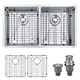 "MOWA HUD33DE Pro Series Handmade 33"" 16 Gauge Stainless Steel Undermount 50/50 Double Kitchen Sink - Upgraded w/Perfect Drainage, Bonus Combo w/Soap Dispenser, Basket Strainers & Sink Grids"