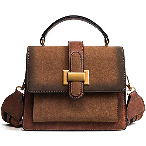 Small Bag Wide Messenger Brown Brown Bag Frosted Bag Meaeo Strap Square Crossbody Shoulder Small HxwMqpF5A