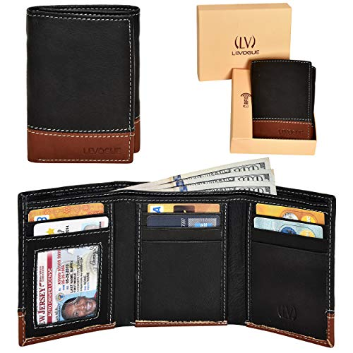 (Genuine Leather RFID Blocking Slim Trifold Wallet for Men with 7 Cards+1 ID Window+2 Note Compartments (Black Tan) )