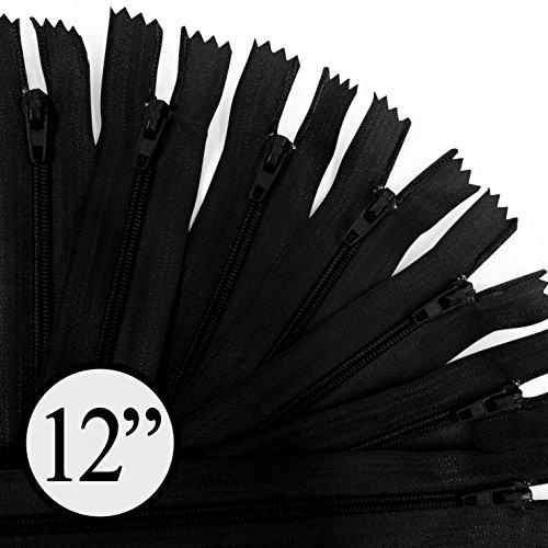 KGS 12 inch Nylon Zipper Zipper | 100 Zippers/Pack (Black) by KGS