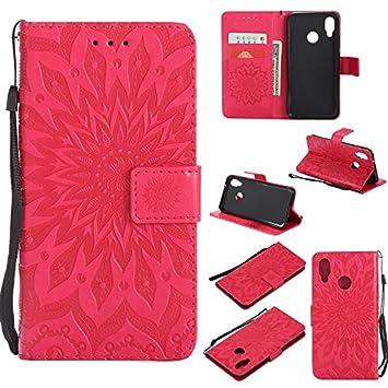 Guran Funda de Cuero Para Huawei Enjoy 7S/Huawei P Smart Smartphone Funció n de Soporte con Ranura para Tarjetas Flip Case Cover-marró n 04