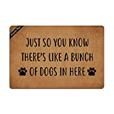 Ruiyida Just So You Know There's Like A Bunch Of Dogs In Here Entrance Floor Mat Funny Doormat Door Mat Decorative Indoor Outdoor Doormat Non-woven 23.6 By 15.7 Inch Machine Washable Fabric Top