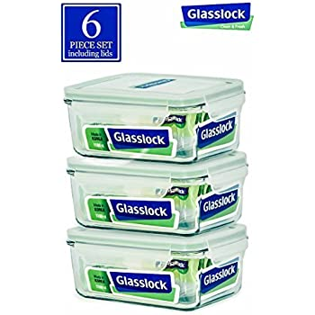 Glasslock Food-Storage Container with Locking Lids Oven and Microvave Safe - Rectangular 37oz