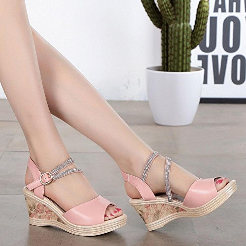 Girls L@YC Women'S Slope With Sandals Leather With Thick Bottomed Waterproof Platform With High Heeled Shoes Fish Mouth , pink , 34