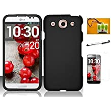 LG Optimus G Pro E980, LF 4 in 1 Bundle - Hard Case Cover, Stylus Pen, Screen Protector & Wiper (AT&T) (Black)