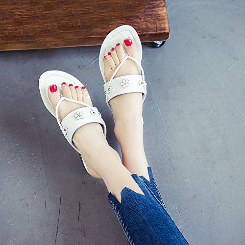 Ularma Zapatillas zapatos planos mujer sandalias resistentes del resbalón gris