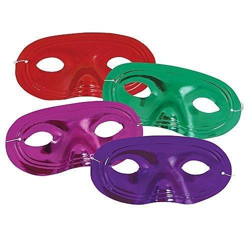 Metallic Mardi Gras Half Mask - 144 (1 Gross) ~ Mardi Gras Plastic Half Masks ~ Assorted Metallic Colors ~ New