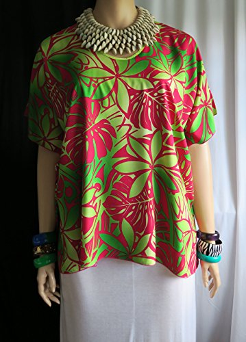 Shaka Mamma Hawaiian Polynesian Woman's Butterfly caftan, Cover-up Shirt, tunic travel - Made in Hawaii - Fits Plus Large or XL even 2XL