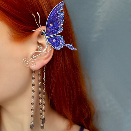 Women's Jewelry, Handmade Jewelry, Blue Butterfly Ear Cuffs, Drops Earrings, Girl Earrings, Cosplay Earrings, Costume Jewelery, Festival Earrings